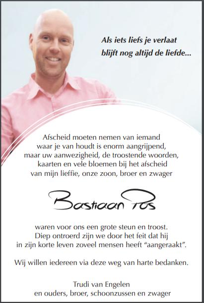 dankbetuiging Bastiaan Pos